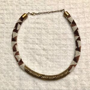 Chunky seed bead rope statement necklace
